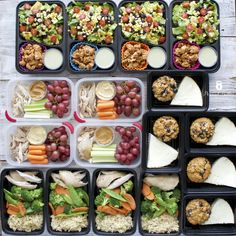 Weekly meal prep plan with recipes and nutrition info. On the menu this week: Blueberry Almond Oatmeal Muffins with Egg Whites, Turkey Taco Salads, Chicken and Stir Fry Veggies with Rice, Chicken with carrots, hummus, and grapes