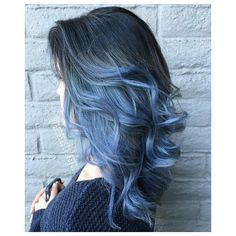 Blue Ombre Hair ❤ liked on Polyvore featuring beauty products, haircare, hair color and hair