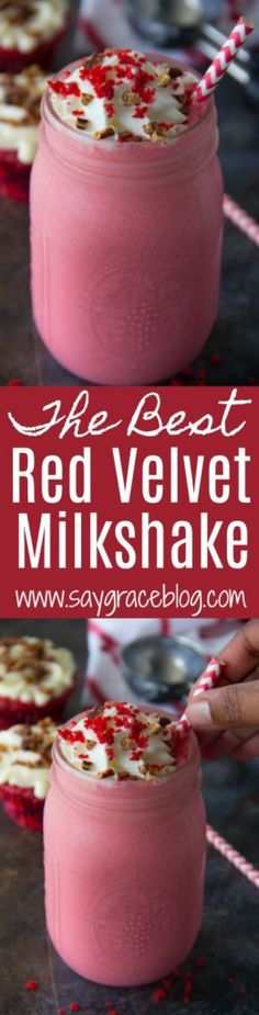 This red velvet milkshake combines moist red velvet cake with decadent cream cheese icing makes such a delicious treat!!