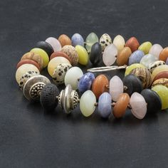 Natural Multi Gemstone and Sterling Silver Beaded Necklace, Hand-Knotted Chunky Multi-color Statement Necklace, Designer Jewelry