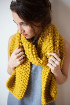 Chunky Knit Scarf in mustard yellow