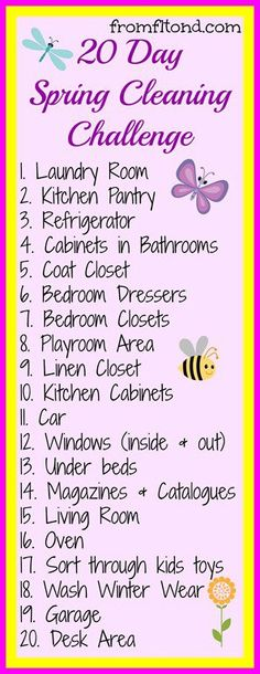 20 Day Spring Cleaning Challenge. I am definitely loving this idea!  | followpics.co