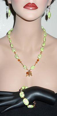 Green Turkey Turquoise Howlite, Swarovski Crystal Necklace, Earrings, Bracelet