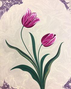 Tulip by Marbling Artist Firdevs Çalkanoğlu - Marble Art Gallery, Flower Painting, Islamic Art, Marble Art, Painting, Floral Stencil, Art, Ebru Art, Flower Designs