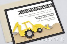 Backhoe Invitation for Boys Construction Party in Black and Cement Gray
