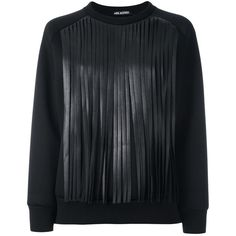 Neil Barrett Fringed Sweatshirt ($472) ❤ liked on Polyvore featuring tops, hoodies and sweatshirts