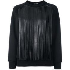 Neil Barrett Fringed Sweatshirt (1.485 BRL) ❤ liked on Polyvore featuring tops, hoodies, sweatshirts, black, long sleeve tops, long sleeve cotton tops, fringe top, round neck top and cotton sweatshirts