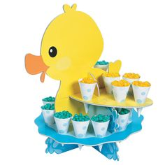 Rubber Ducky Treat Stand with Cones Audio Thumbnail Rubber Duck Birthday, Rubber Ducky Party, Rubber Ducky Baby Shower, Baby Shower Duck, Boy Baby Shower Themes, Baby Shower Parties, Porta Cupcake, Ducky Baby Showers, Boy Birthday Parties
