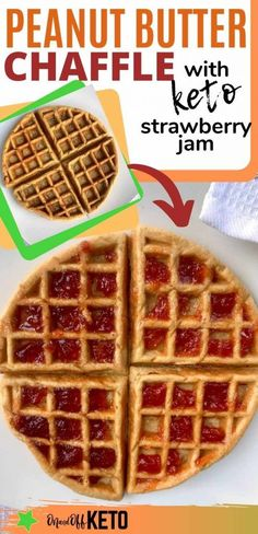 Try this delicious Peanut Butter Chaffle with Strawberry Jelly! Your kids will love this classic keto peanut butter waffle recipe and will request it over and over again. Low carb waffles are healthy and guilt free making for perfect keto meal prep as keto to-go meals. #chaffle #ketowaffle #peanutbutterwaffle Keto Waffle, Waffle Recipes, Keto Recipes, Strawberry Jelly, Sugar Free Strawberry Jam, Peanut Butter Waffles, Low Carb Waffles, Keto Meal, Keto Food List