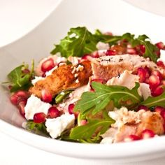 Delicious heart healthy recipe: Asian Chicken Salad. Grilled chicken, mixed greens, pears and pomegranate seeds. @Green Box Foods