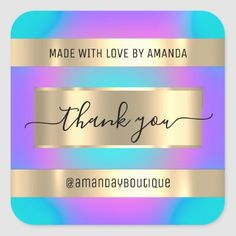 Thank You Shopping Custom Holograph Pink Blue Square Sticker Anniversary Party Favors, Wedding Anniversary, Luxury Store, Blue Square, Bridal Shower Favors, Love Is Sweet, Business Supplies, Custom Stickers, Keep It Cleaner
