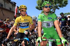 VAISON-LA-ROMAINE, FRANCE - JULY 16: General classification leader Chris Froome of Great Britain and Team Sky Procycling and points classification leader Peter Sagan of Slovakia and Cannondale look on ahead of stage sixteen of the 2013 Tour de France, a 168KM road stage from Vaison-la-Romaine to Gap, on July 16, 2013 in Vaison-la-Romaine, France. (Photo by Doug Pensinger/Getty Images)
