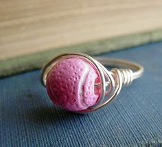 Pink Tennis Ball Wire Wrapped Ring #WimbledonWorthy