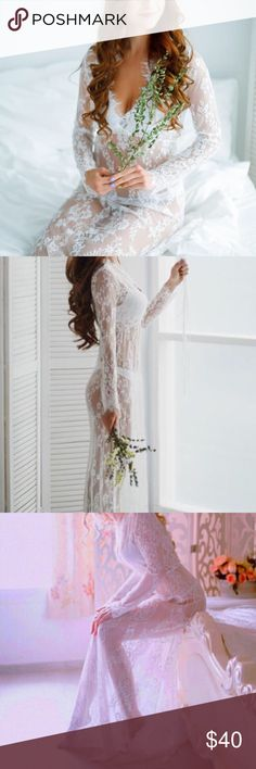 """Long Sleeve Lace Dress / Cover Up Can be used as lingerie or worn with a slip underneath and styled as a dress.  ALL photos are of the actual dress you will receive. Dress is completely sheer!   Small:  Bust - 86cm/33.86""""  Waist - 66cm/25.98""""  Length - 160cm/62.99''  US4/UK6/EU34   Medium: Bust - 90cm/35.43"""" Waist - 70cm/27.56"""" Length - 162cm/63.78'' US6/UK8/EU36     ✭Price is firm ☾I do NOT trade ✭10% off 2+ item bundles Instagram…"""