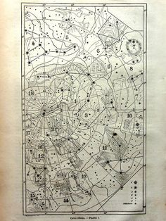 1865 antique constellation chart print by LyraNebulaPrints on Etsy Vintage Maps, Vintage Posters, Constellations, Cosmos, Constellation Chart, Map Diagram, Celestial Map, Star Chart, Old Maps