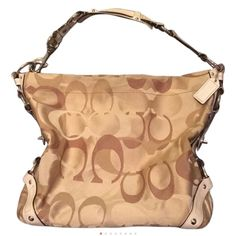 Coach Handbag Large Coach tote with cream leather strap and metal stud detail Coach Bags Shoulder Bags