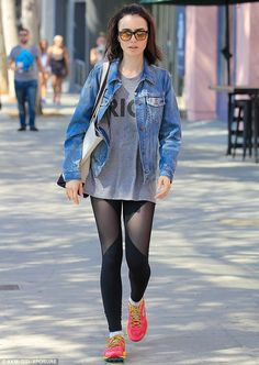 Going for gold!: Lily Collins wore a 'Rio' T-shirt for her workout in West Hollywood on Tuesday