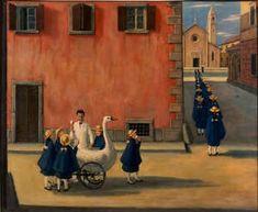 Gianfilippo Usellini Il gelataio 1957 tempera grassa su tela Collezione privata