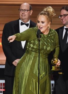 Adele accepts the Record Of The Year award for 'Hello' onstage during The 59th Grammy Awards at StaplesS Center on February 12, 2017 in Los Angeles
