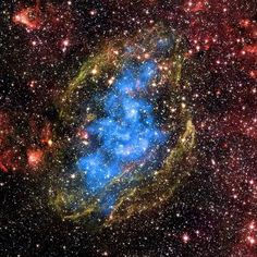 provocative-planet-pics-please.tumblr.com X-ray & Infrared Images of W44 Also known as G34.7-0.4 W44 is an expanding supernova remnant that is interacting with dense interstellar material that surrounds it. X-rays from Chandra (blue) show that hot gas fills the shell of the supernova remnant as it moves outward. Infrared observations from the Spitzer Space Telescope reveal the shell of the supernova remnant (green) as well as the molecular cloud (red) into which the supernova remnant is…