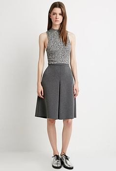 Heathered A-Line Skirt - Skirts - 2000162418 - Forever 21 EU English