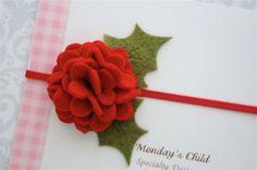 Felt Flower Headband - Christmas Headband - Newborn Headbands, Baby Headbands, Baby Girl Headbands to Adult. $6.95, via Etsy.
