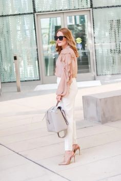 Work Neutral Look For Now And Later - Oh What A Sight To See Cute Work Outfits, Summer Outfits, Summer Work Wear, Closet Essentials, Neutral Outfit, Summer Feeling, Autumn Day, White Pants, Work Pants