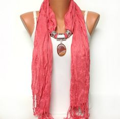 coral color jewelry scarf