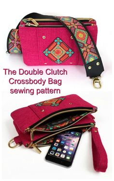 Sewing pattern for a clutch bag. This douuble clutch bag sewing pattern includes two separate zipper bags joined together. Each includes the perfect combination of pockets and spaces for bank cards. Wallet Sewing Pattern, Wallet Pattern, Bag Patterns To Sew, Sewing Patterns, Bucket Bag, Double Clutch, Across Body Bag, Zipper Bags, Zipper Pouch