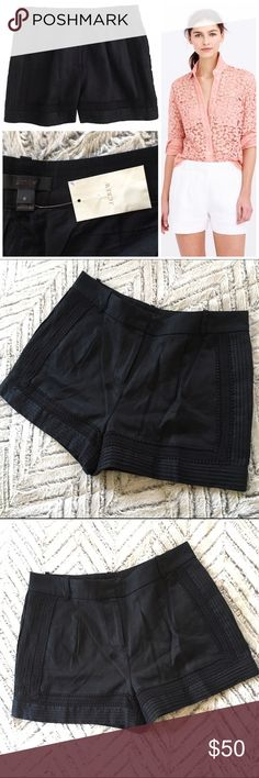 "NWOT J. Crew Black Linen Lace Trim Shorts, 6 NWOT J. Crew Black Linen Lace Trim Shorts, 6 Pretty but never prim—appliquéd lace and pintuck details enure this vintage-inspired short feels way more right-now than retro. Approx. Measurements: 16"" across waist, 12"" rise, 2.75"" rise. New without Tags; button bag still attached. *label marked through* Linen. Zip fly. Lined. Dry clean. Import. Sits at hip. J. Crew Shorts"