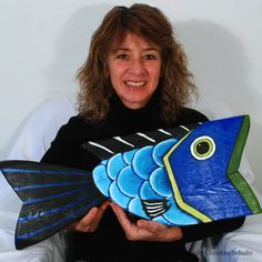 Fish Decor Big Blue Fish Painted on Reclaimed Wood Mississippi Folk Art