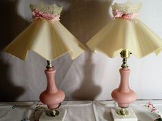 Vintage mid century boudoir vanity  pretty soft frosted pink cased glass lamps…