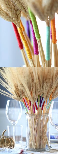 DIY Color Wrapped Wheat | inspiredbycharm.com #thanksgiving #centerpiece #diy…