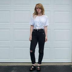 Vintage Distressed Black Denim Jeans - 26/27
