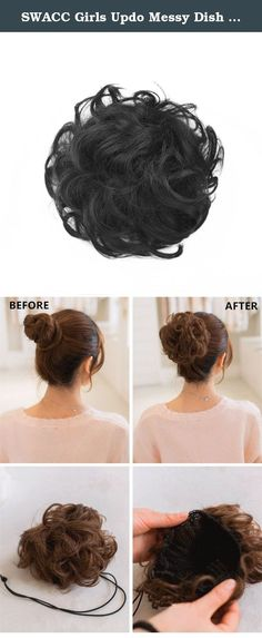 SWACC Girls Updo Messy Dish Hair Bun Synthetic Clip On Chignon Hairpiece Drawstring Ponytail Bun Hair Extensions (1B-Off Black). What style will you wear today? Do you need an elegant chignon for a special occasion? Well, look no further, because this synthetic fiber hair bun extension creates an elegant chignon or ponytail accent that can be worn for a prom, wedding, or evening out. Use the Adjustable Drawsting and two small clips to your own pigtai for a secure fit. Our hairwraps will...