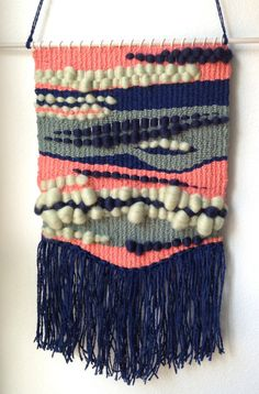 Custom Listing for Jenni // Handwoven Wall Hanging / Weaving - Navy Blue, Green, Salmon Pink Thread & Roving