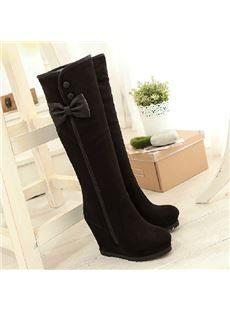 Fashionable Black Suede Wedge Heel Bowtie Decoration Knee High Boots