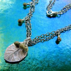 Necklace Fine Silver Leaf with Sterling and Rhyolite by MangoTango, $115.00