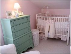Vintage Inspired Nursery Idea: The bedding for Vivian Janes nursery idea was made from House Inc. fabrics. I bought some of the things from House Inc., but my friend made the bumper,