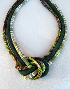 African wax print  fabric green knot  summer Bib  necklace