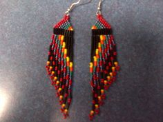 Native American long seed beaded earrings on Etsy, $20.00