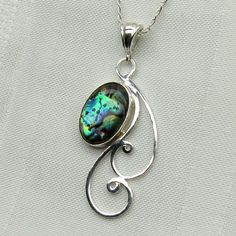 Abalone Necklace - Paua Shell Pendant - Paua Shell Jewelry - Mother of Pearl  - Sterling Silver