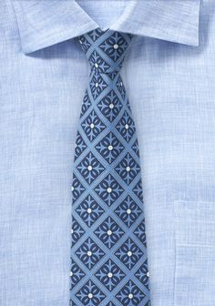 Taubenblaue Krawatte mit Talavera-Dekor