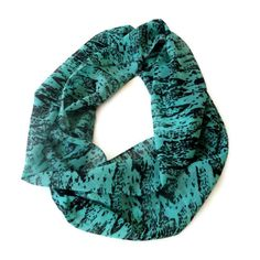 infinity loop scarf for her , chiffon scarves, eternity summer spring accessory , green and black via Etsy