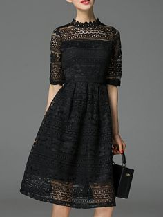 Black Collar A-Line Lace Dress 53.99