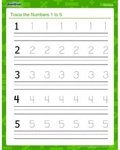 Trace the Numbers 1 to 5