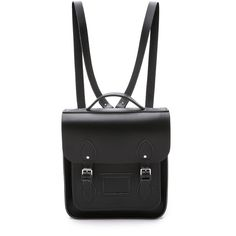 Cambridge Satchel Small Portrait Backpack ($215) ❤ liked on Polyvore featuring bags, backpacks, accessories, bolsos, black, leather bags, leather backpack bag, real leather backpack, black leather knapsack and leather rucksack