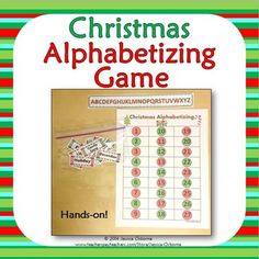 Christmas Alphabetizing Hands-On Game & Writing Activity Christmas Words, Christmas Themes, Holiday Ideas, Christmas Holidays, Library Games, Library Skills, Upper Elementary, Writing Activities, Literacy