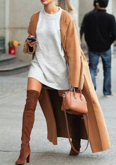 oversized sweatshirts + over the knee heels