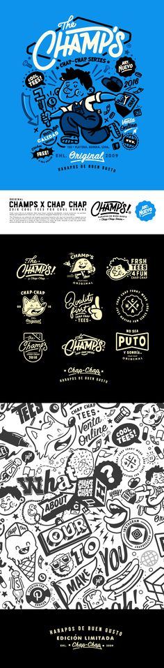 - The Champs - by Chap Chap Funny Wear on Behance Branding Design, Logo Design, Menu Design, Design Ideas, Branding Ideas, Coffee Shop Branding, Logo Luxury, Hotel Logo, Cafe Logo